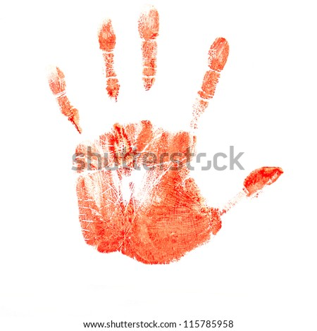 hand print red isolated on white background - stock photo