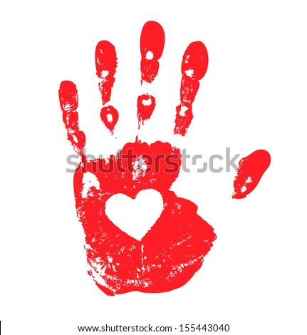 Hand print with heart icon, raster illustration  - stock photo
