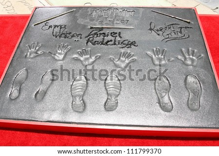 """Hand Prints at the Hand, Foot and Wand Print Ceremony Honoring The Cast of """"Harry Potter"""". Grauman's Chinese Theater, Hollywood, CA. 07-09-07 - stock photo"""