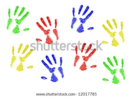 hand prints in primary colors on a white canvas