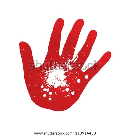 Hand prints on a white background