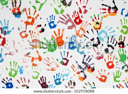 hand prints on white background - stock photo