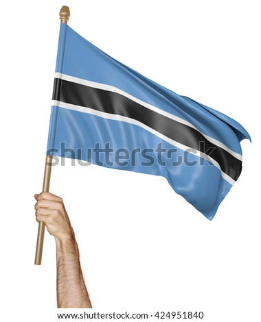 Hand proudly waving the national flag of Botswana, 3D rendering - stock photo