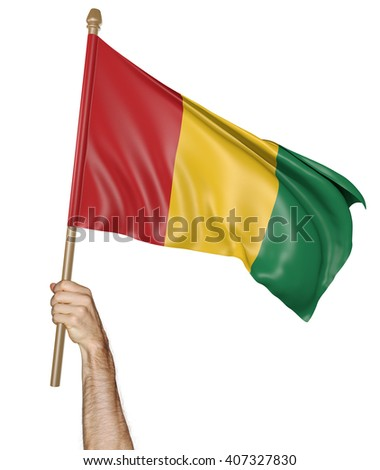 Hand proudly waving the national flag of Guinea, 3D rendering - stock photo