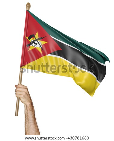 Hand proudly waving the national flag of Mozambique, 3D rendering - stock photo