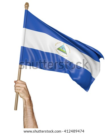 Hand proudly waving the national flag of Nicaragua, 3D rendering - stock photo