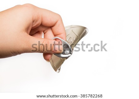 hand pulled tab open easily food canning on white background - stock photo