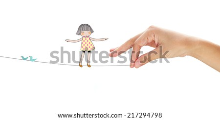 Hand pulling a rope and cute girl standing on it. Cartoon. Helping concept. - stock photo