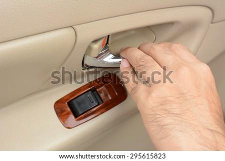 car door handle hand. Modren Car Hand Pulling Car Interior Door Handle Opening On Car Door Handle O