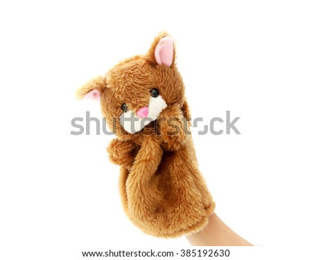 Hand puppet for child on white background. - stock photo