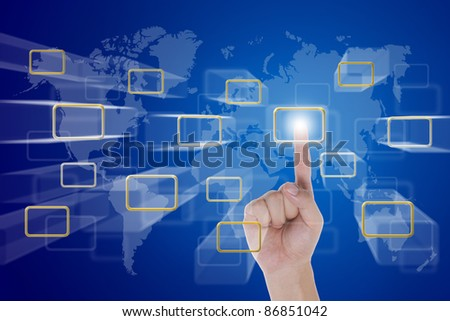 hand push a touch screen button with world map background - stock photo