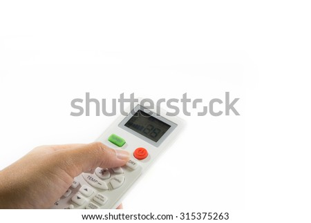 hand push air remote control isolate white background