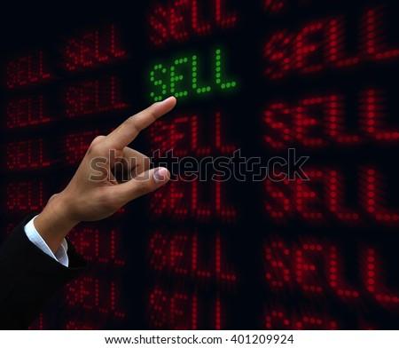 Hand push sell - stock photo