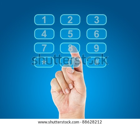 Hand push telephone buttons - stock photo