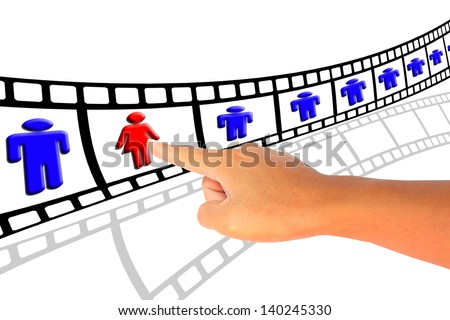 hand push woman workforce for recruitment concept - stock photo