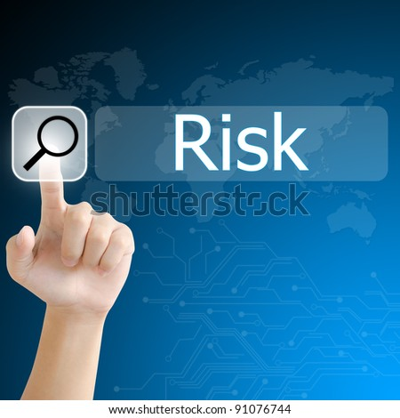 hand pushing a search button to find risk word on a touch screen interface