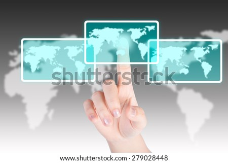 Hand pushing and touch world map button with technology background