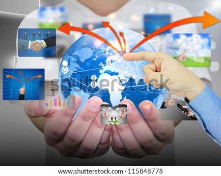 hand pushing business communication - stock photo