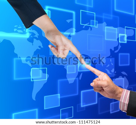 Hand pushing button on a touch screen interface - stock photo