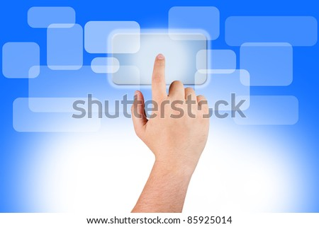 hand pushing button touch screen