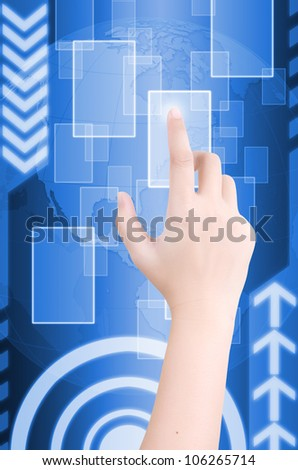 Hand pushing digital button on touch screen interface. - stock photo