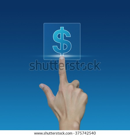 Hand pushing dollar currency icon over blue background