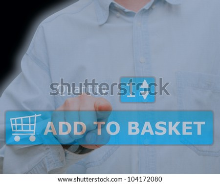 Hand Pushing Download Button on Touch Screen - stock photo