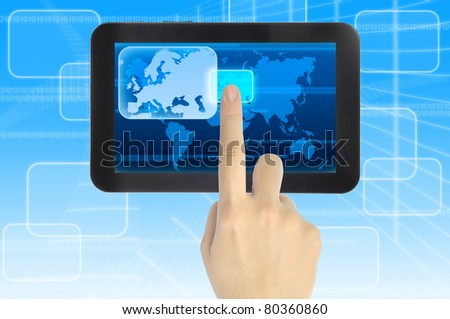 hand pushing Europe Continent on a touch screen interface