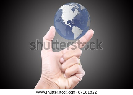 Hand pushing globe for social network.