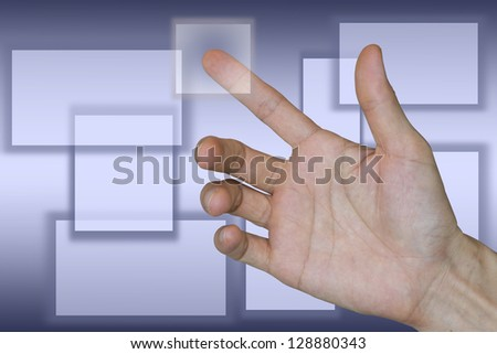 Hand pushing icon on business background