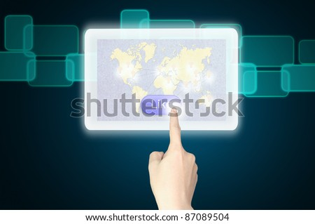 hand pushing like button on tablet pc - stock photo