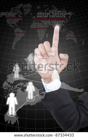 Hand pushing mail social network communication. - stock photo