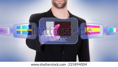 Hand pushing on a touch screen interface, choosing language or country, Qatar - stock photo