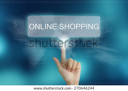 hand pushing on online shopping balloon text button - stock photo
