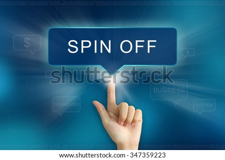 hand pushing on spin off balloon text button