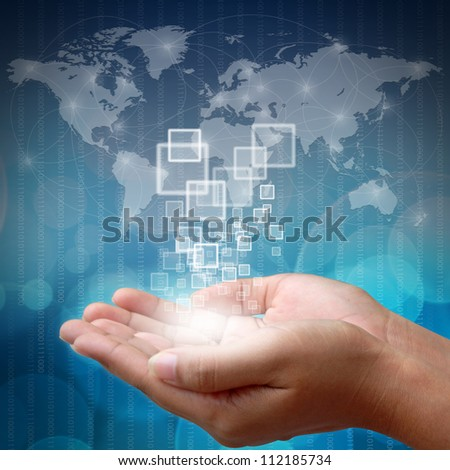 Hand pushing on touch screen interface on business background blue color