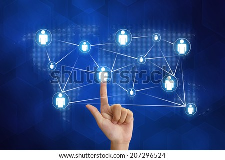 hand pushing organization networking with blue background