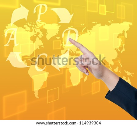 Hand pushing PDCA (Plan Do Check Act) button on a touch screen interface - stock photo