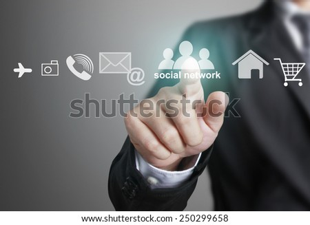 Hand pushing social network structure, new technology - stock photo