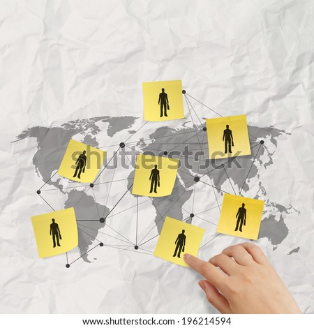 hand pushing sticky note social network icon on crumpled paper background as concept  - stock photo