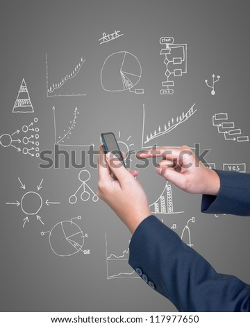 Hand pushing tablet with drawing business plan