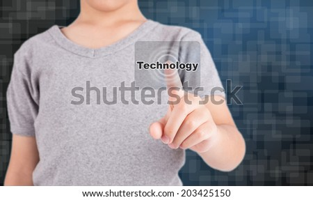 hand pushing technology button on a touch screen interface - stock photo