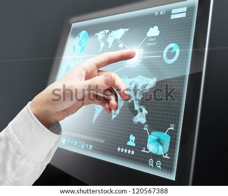 hand pushing to interface screen - stock photo