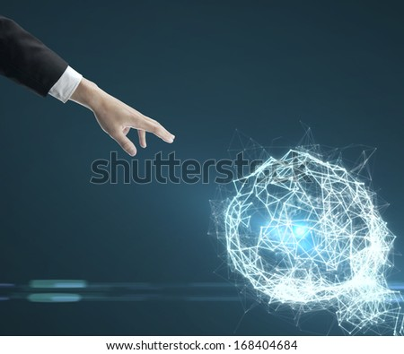 hand pushing to interface, social media concept - stock photo