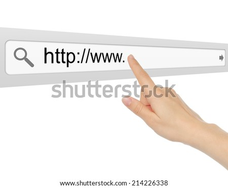 Hand pushing virtual search bar on white background, internet concept   - stock photo