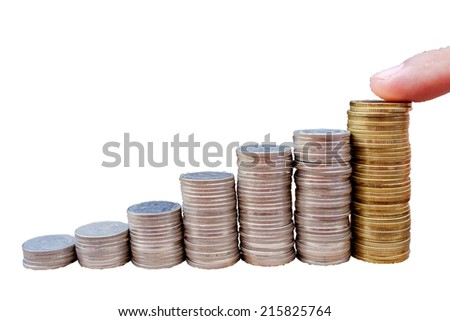hand put coin graph  for presentation