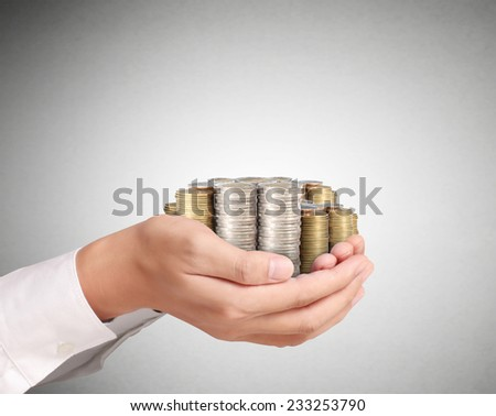Hand put coin to money ,Business idea  - stock photo