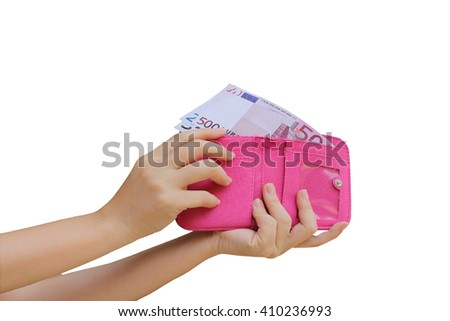 hand putting banknote from purse ,isolate white background