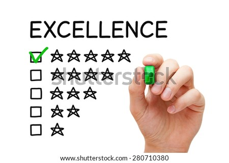 Hand putting check mark with green marker on Excellence five star rating. - stock photo