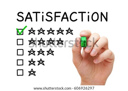 Hand Putting Check Mark With Green Marker On Five Stars In Customer  Satisfaction Checklist Form.  Excellent Customer Service